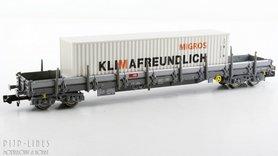 """SBB rongenwagen Type Res beladen met container """"MIGROS"""""""