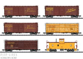 USA Union Pacific goederenwagen set 6-delig