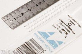 Micro Aluminium buis. 0.7mm x 0.1mm x 0.5mm
