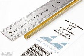 Messing U-profiel 4 mm x 4 mm