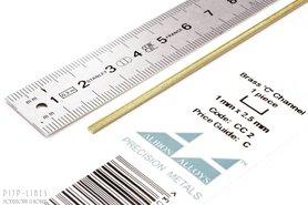 Messing U-profiel 1 mm x 2,5 mm