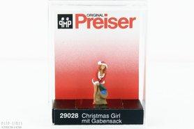 Kerst meid met zak cadeau's