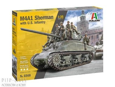 M4A1 SHERMAN met Amerikaanse infanterie