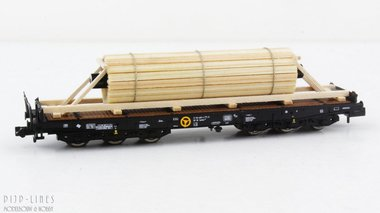 DB zware last wagon beladen met stalen as