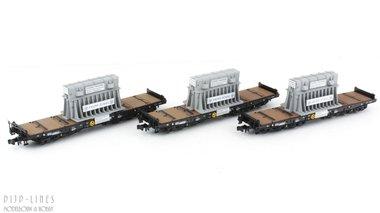 DB 3-delige set zwaartransportwagens beladen met gloeiend staal