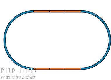 PIKO A-Gleis met bedding Rails set A+4 x rechte rails