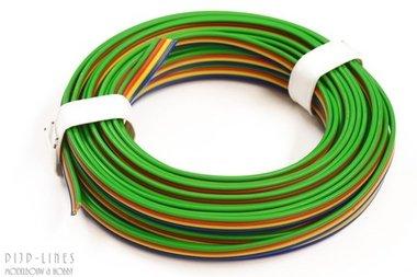 Draad Blauw/geel/rood/groen 5 meter 4 polig 0,14qmm