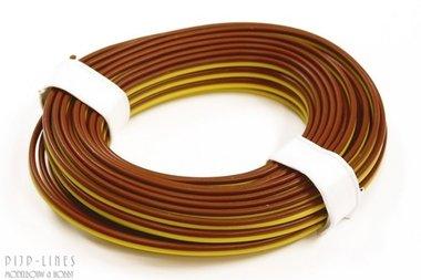 Draad Bruin/geel 5 meter 2 polig 0,14qmm