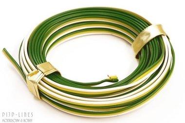 Draad Groen/geel/wit 5 meter 3 polig 0,14qmm