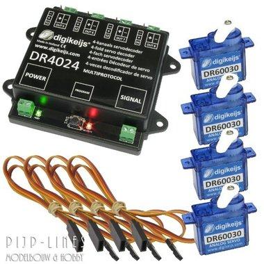 DR4024 Servodecoder startset inclusief 4 servo's en 4 verlengkabels