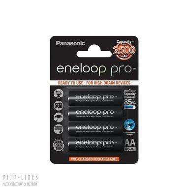 Eneloop-pro batterijen AA. 2500mAh. 4 stuks.