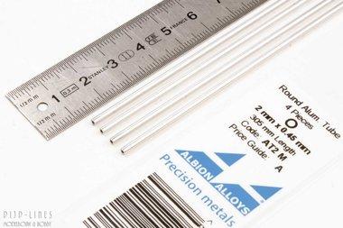 Aluminium buis. 2mm x 0.45mm x 1.1mm