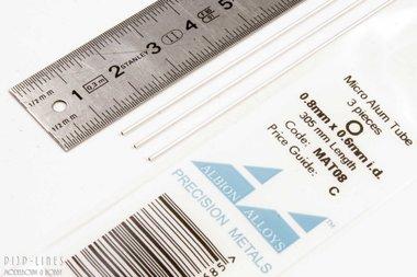 Micro Aluminium buis. 0.8mm x 0.1mm x 0.6mm
