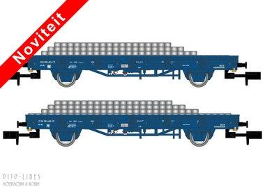NL RailPro set van twee platte wagens met bielzen lading