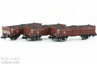 DB set van drie open bak wagons