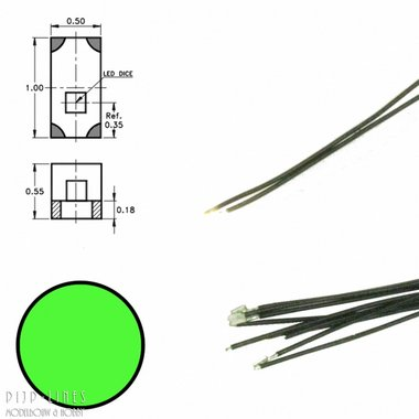 Groene led aan draad (5 stuks)
