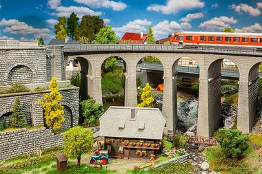 Viaduct set, 2-sporig, gebogen