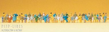 60 geschilderde zittende reizigers