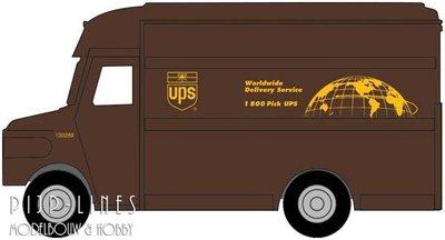 UPS bestelwagen met wereldbol