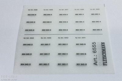 Fleischmann 6555 DB ICE-1 transfers voor omnummeren 10/12/14 delig