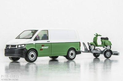 """Herpa 92760 VW T6 met aanhanger en scooter """"WANDT"""" 1:87 H0"""