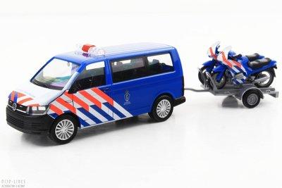 Herpa 930932 VW T6 + aanhanger & 2x motorfiets Marechaussee (NL)