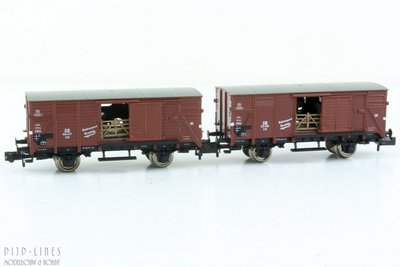 Fleischmann 881804 DB set gesloten wagens voor veetransport met koeien
