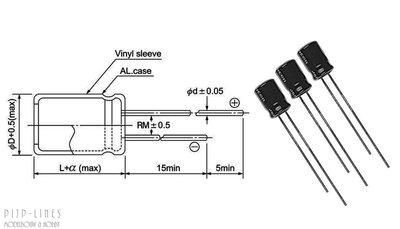 Digikeijs 60021 Set van 10 condensatoren 100uF/16V