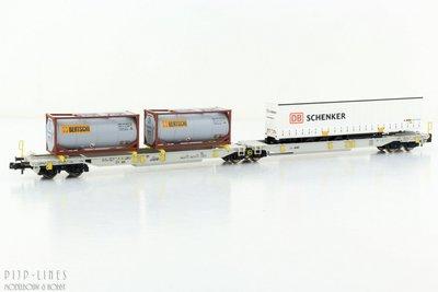 "FleischmFleischmann 825004 AAE T2000 dubbele draagwagen ""DB Schenker & Bertschi""ann 825004 Wascosa T2000 dubbele"