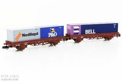 Arnold HN6400 NS set van twee containerwagens BELL/P&O/Nedloyd