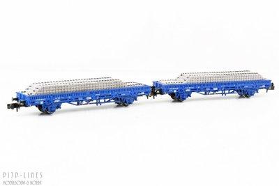Arnold HN6401 NL RailPro set van twee platte wagens met bielzen lading