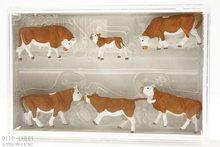 Preiser 10146 Koeien bruin/wit 5 stuks kalf
